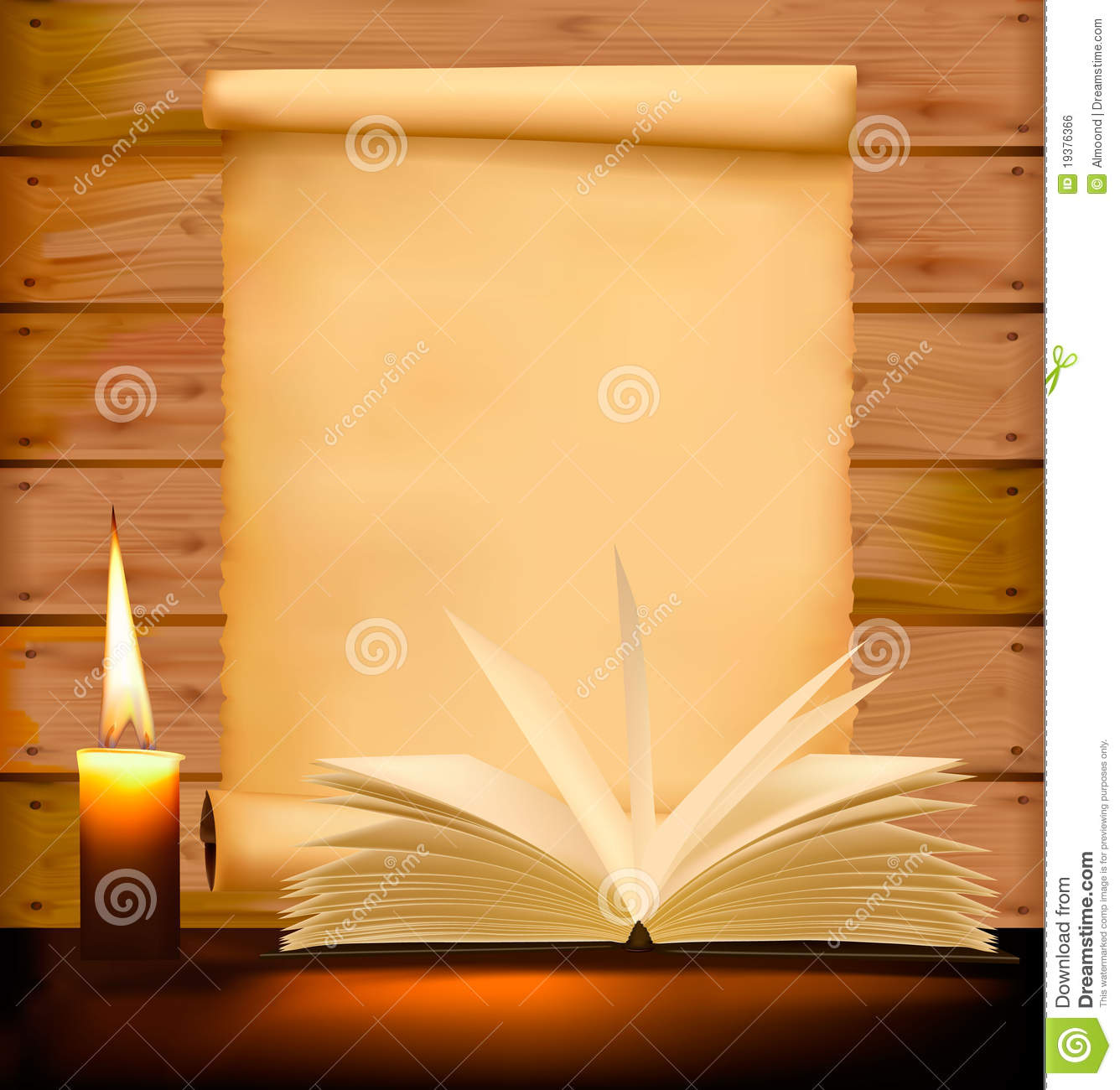 Fall Feather Wood Wallpaper Old Paper Candle And Open Book On Wood Background Stock