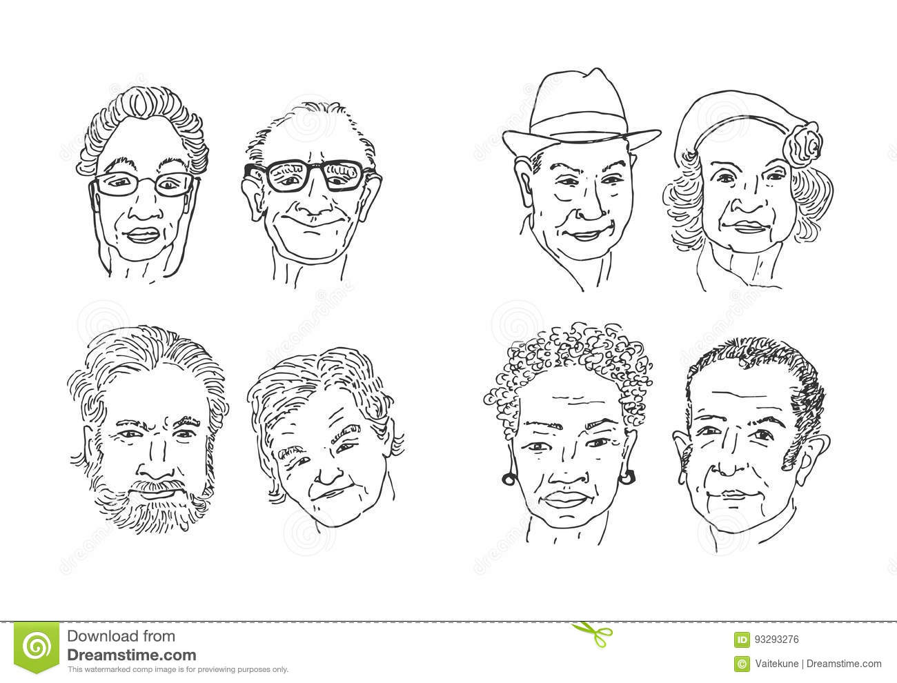 Old people faces drawing. stock illustration. Illustration