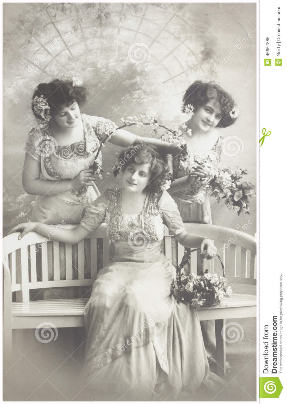Old Photo Of Three Young Women Editorial Image Image
