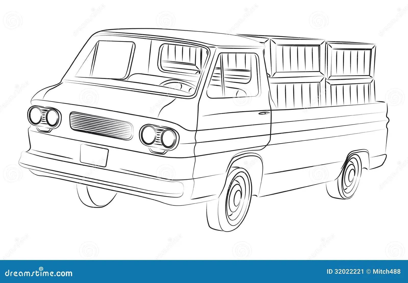 Old Pickup Drawing Stock Image