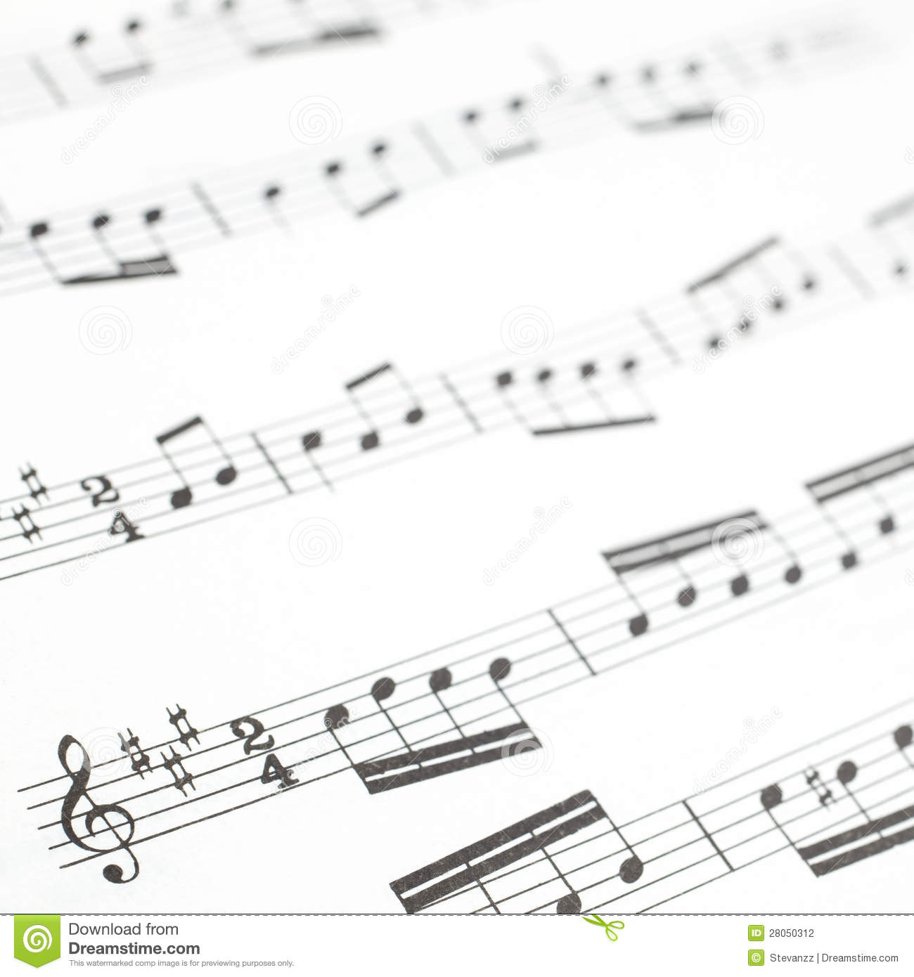 Old Printed Music Sheet Or Score And Musical Notes Stock