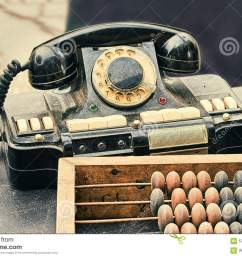 old retro objects antique phone accounting abacus on wooden table stock photo 57182314 megapixl [ 1300 x 951 Pixel ]