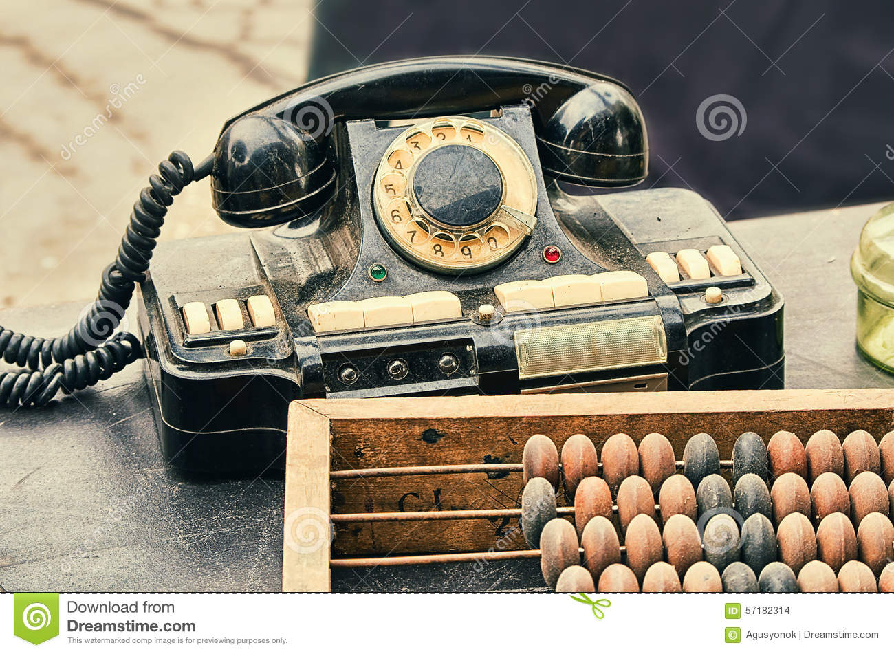 hight resolution of old retro objects antique phone accounting abacus on wooden table stock photo 57182314 megapixl