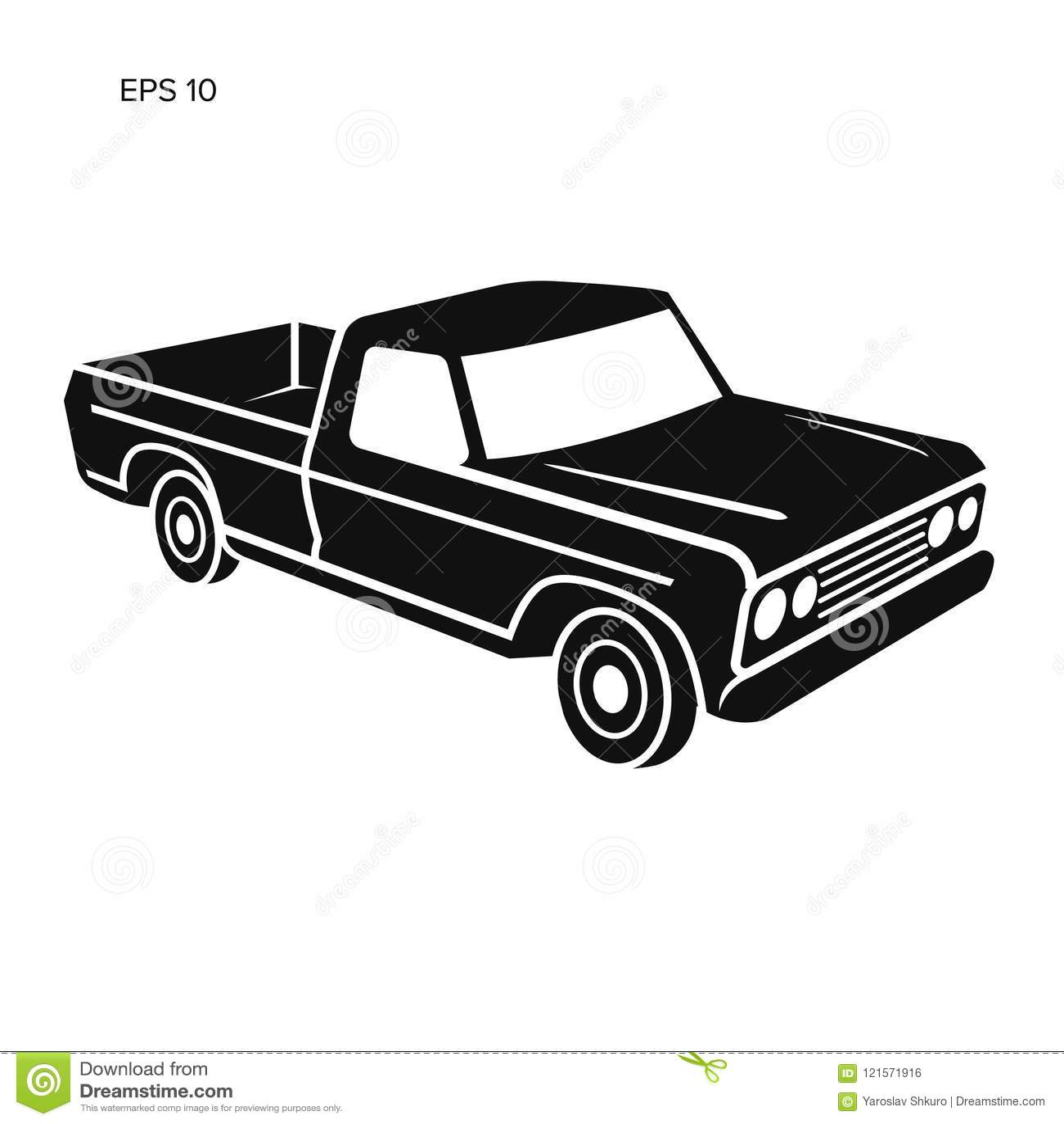 Old Retro Pickup Truck Vector Illustration Stock Vector