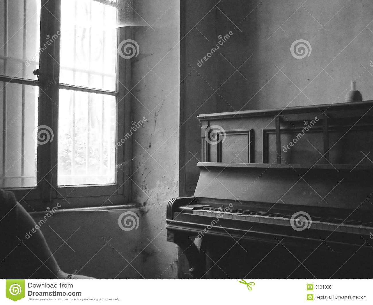 Old Room With A Piano In Black And White Stock Photo