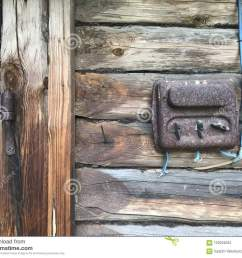 an old rust covered electric flap on the wall of a wooden shed electrical wiring and plastic switches are visible [ 1300 x 1065 Pixel ]