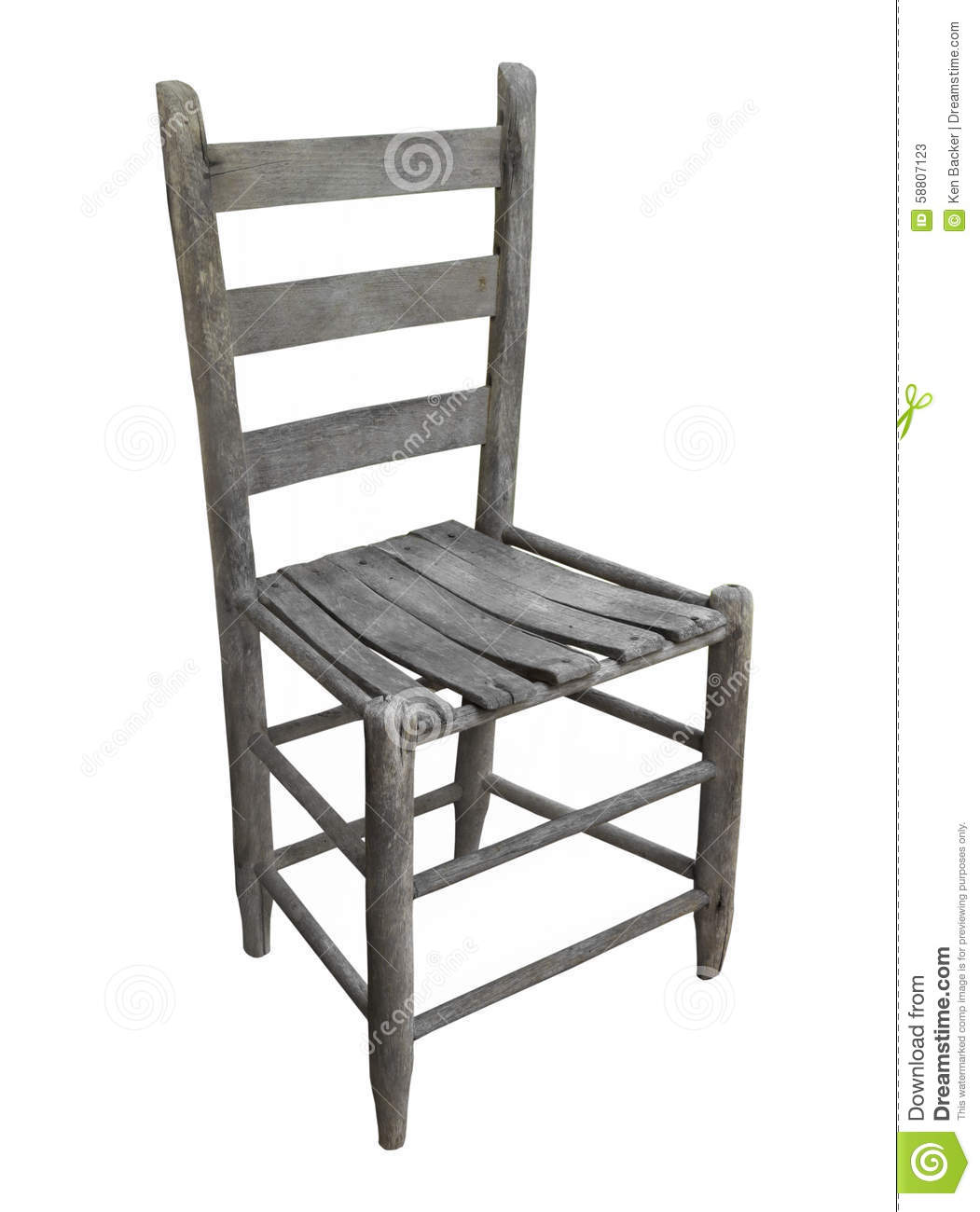White Ladder Back Chair Old Rustic Wooden Chair Isolated Stock Photo Image