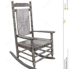 Rustic Rocking Chair Wooden Glider With Ottoman Old Isolated Stock Photo
