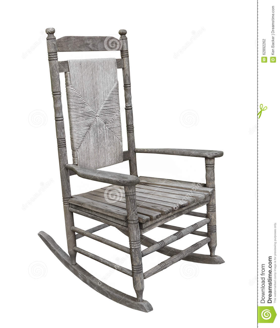 White Wood High Chair Old Rustic Wooden Rocking Chair Isolated Stock Photo