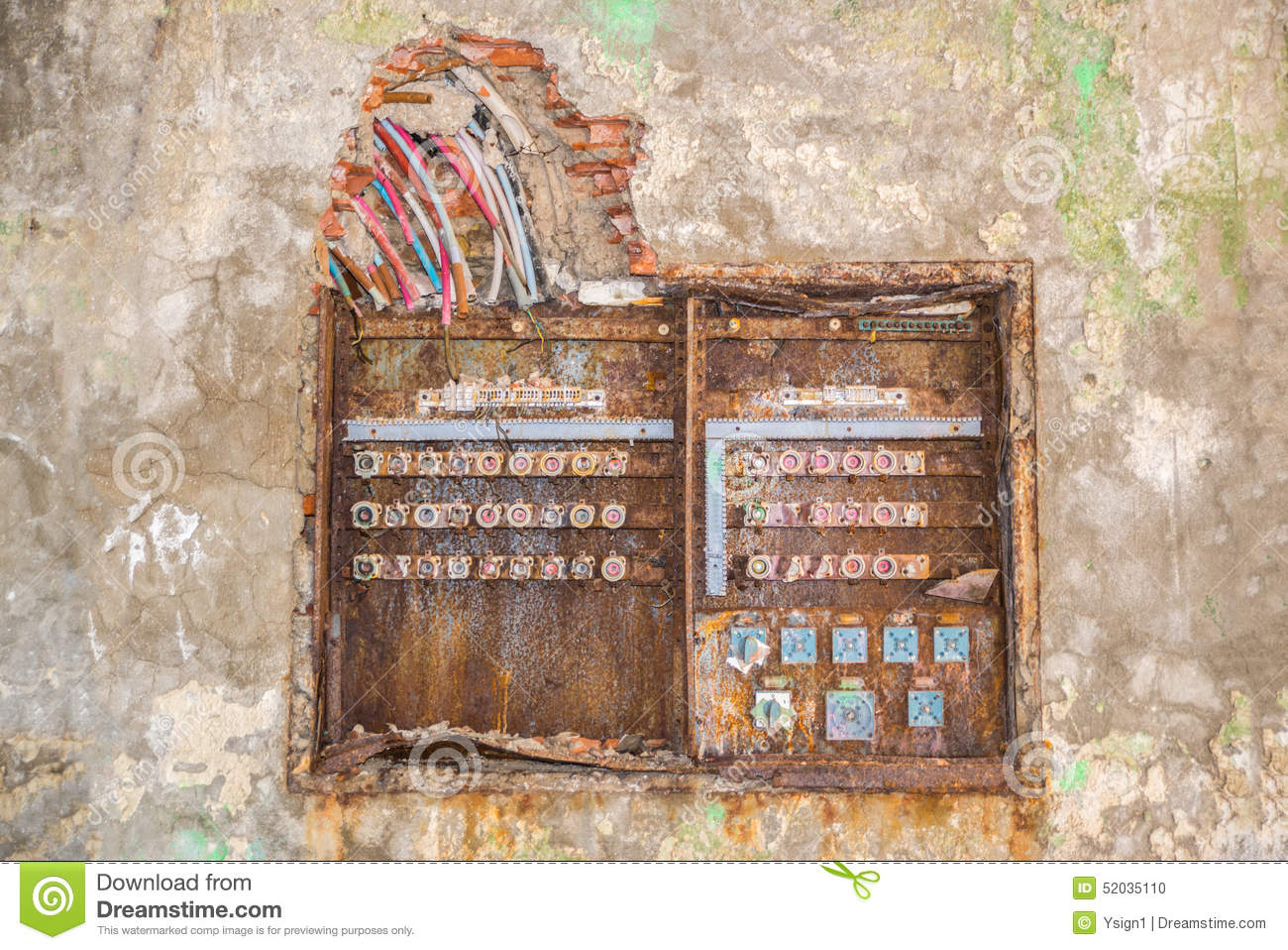hight resolution of old rusty fuse box stock photo image of damaged vintage 52035110 broken fuse box in car broken fuse box