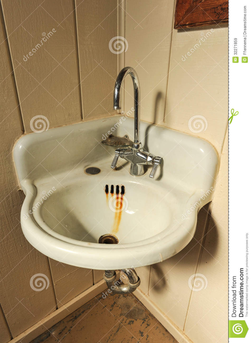 Old Sink With Rusty Basin In Corner Stock Image  Image