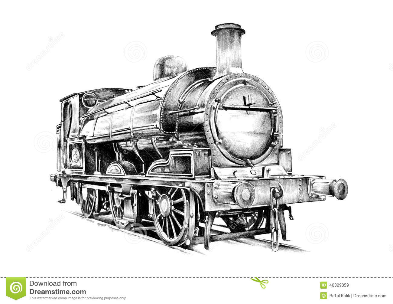 Old Steam Locomotive Engine Retro Vintage Stock Illustration