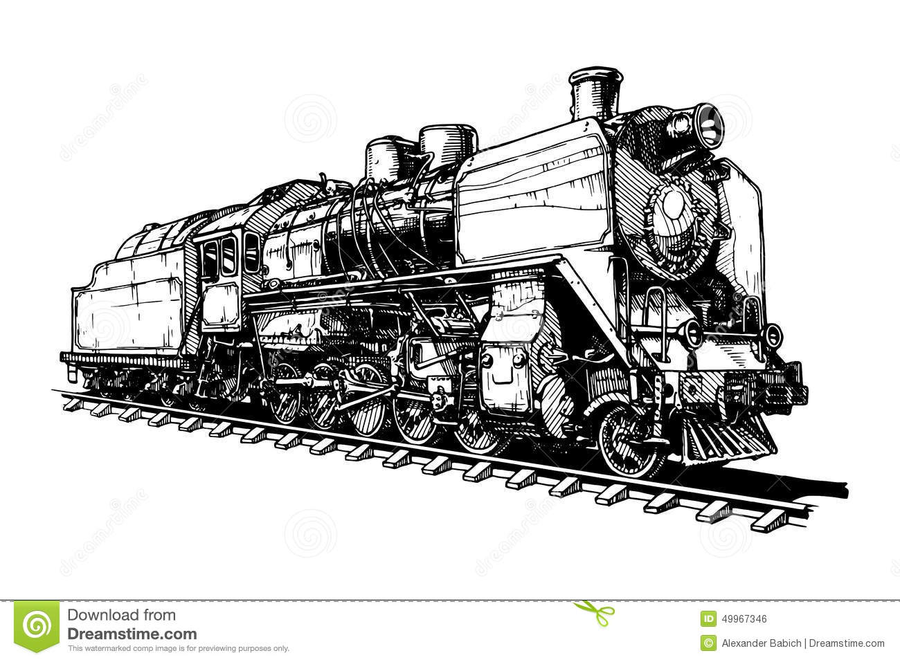 Old Steam Locomotive Stock Vector