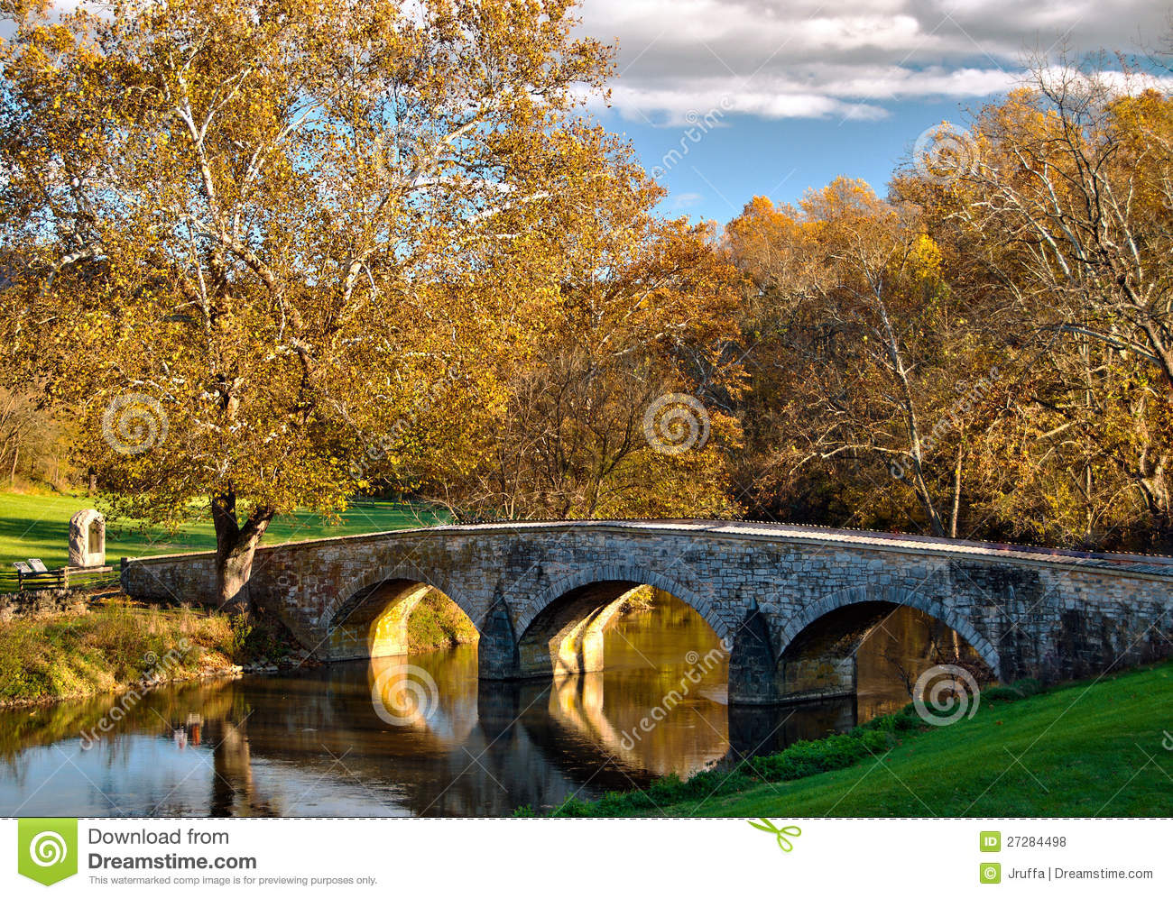Rustic Fall Wallpaper Old Stone Bridge At Antietam National Battlefield Royalty