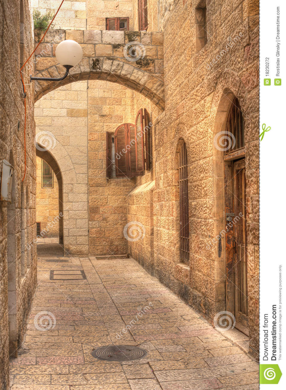 Old Street In Jerusalem Israel Stock Photo  Image of place touristic 18230272