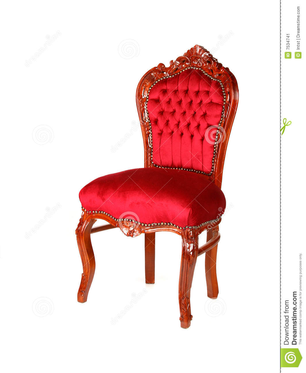 stool chair red the vacant poem old-style velvet stock image - image: 7534741