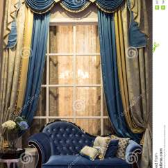 Cloth Sofa Cat Damaged Leather Interior With And Curtains Stock Image - Of ...