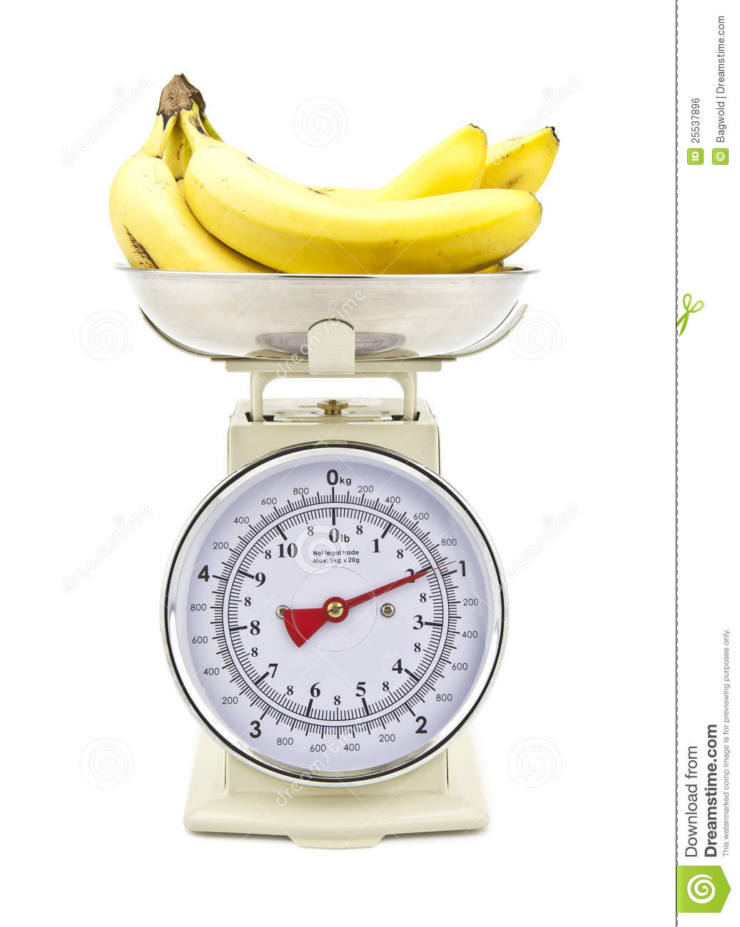 Old Style Kitchen Scales With Bananas Stock Photo