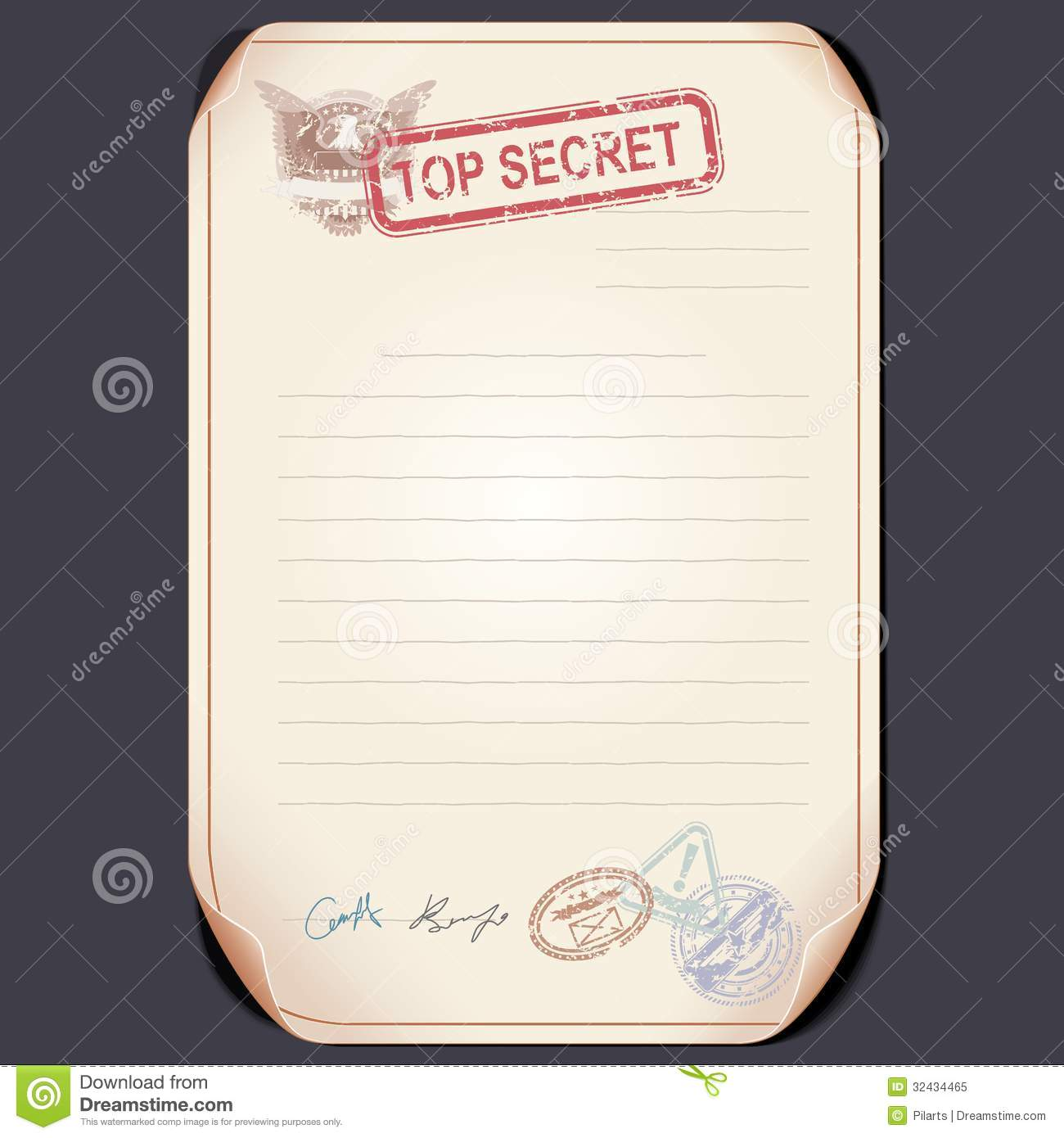 Old Top Secret Document On Table Vector Template Stock Vector  Image 32434465