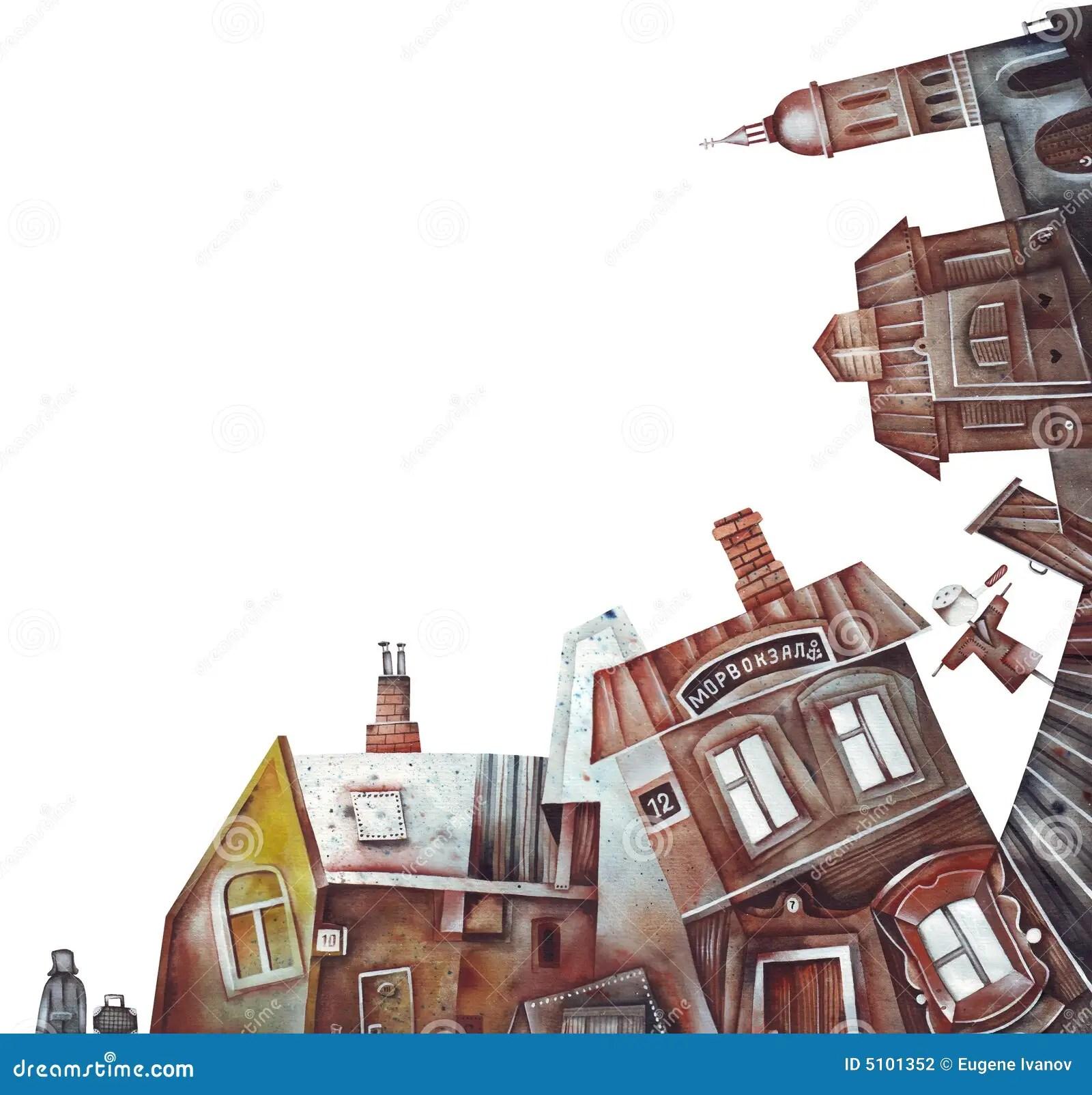 Old Town Or Village Landscape Stock Illustration Image