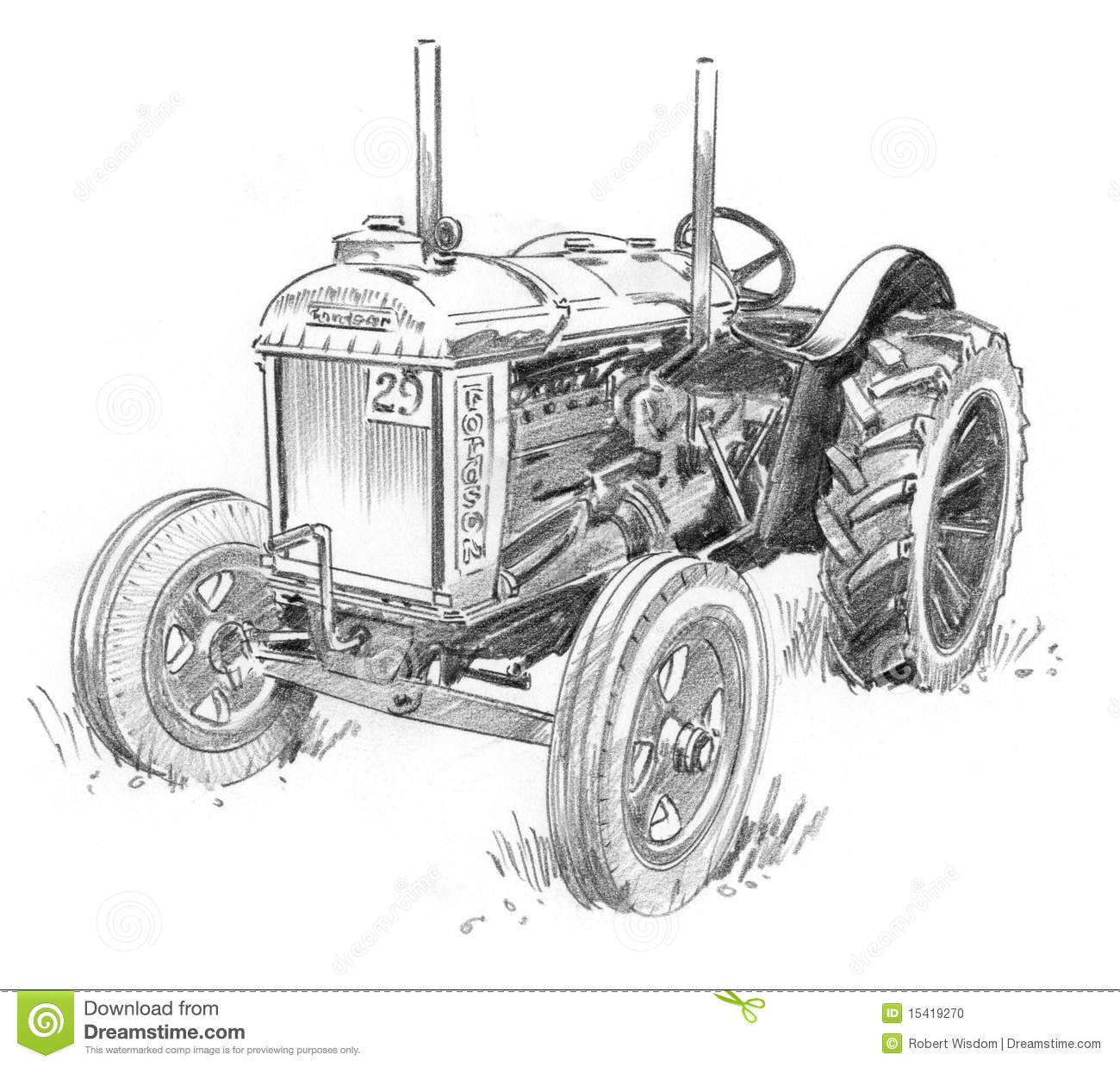 Old Tractor Stock Illustration Illustration Of Engine