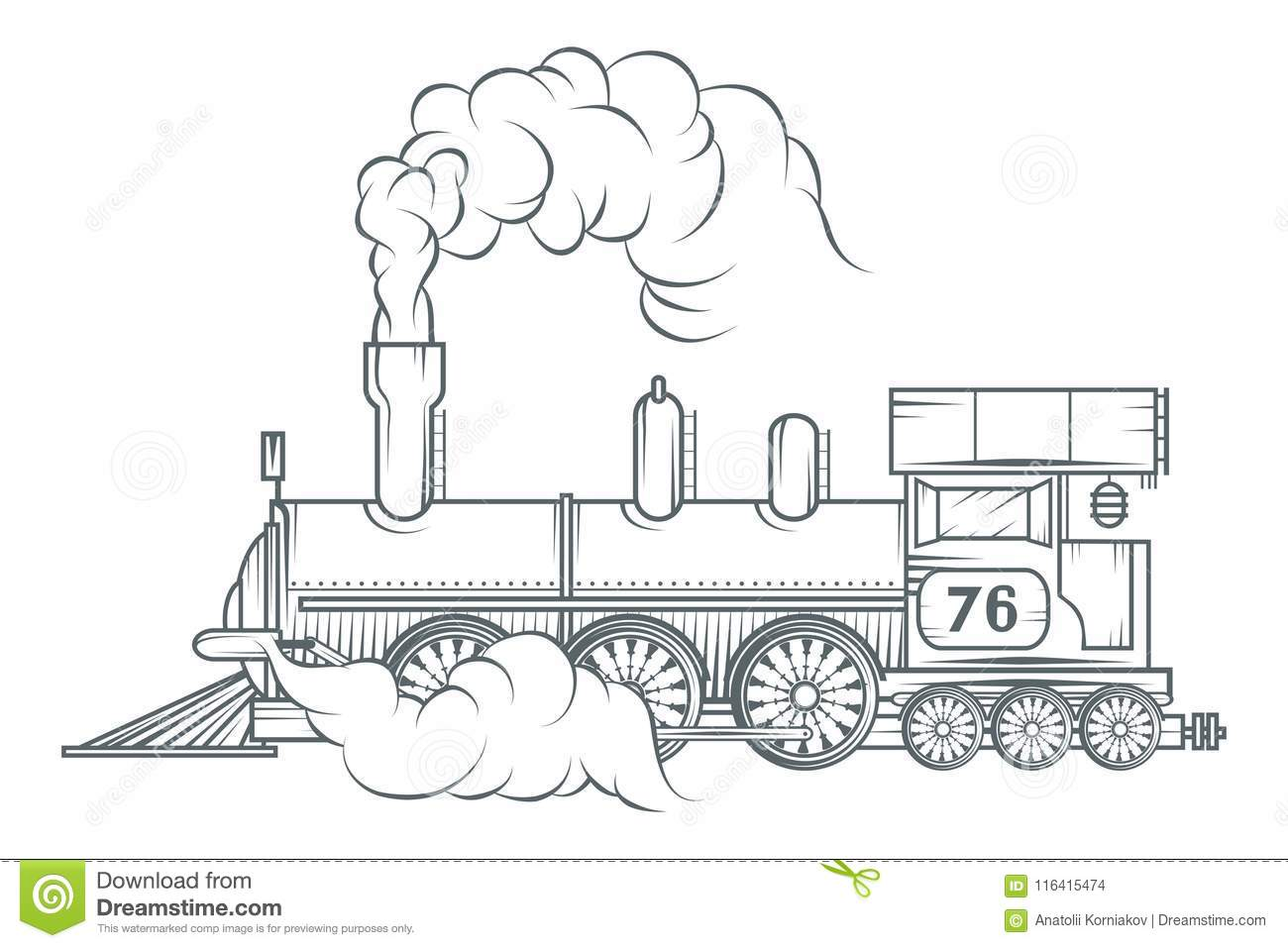 Old Train Logo Locomotive Drawing Steam Transport Stock