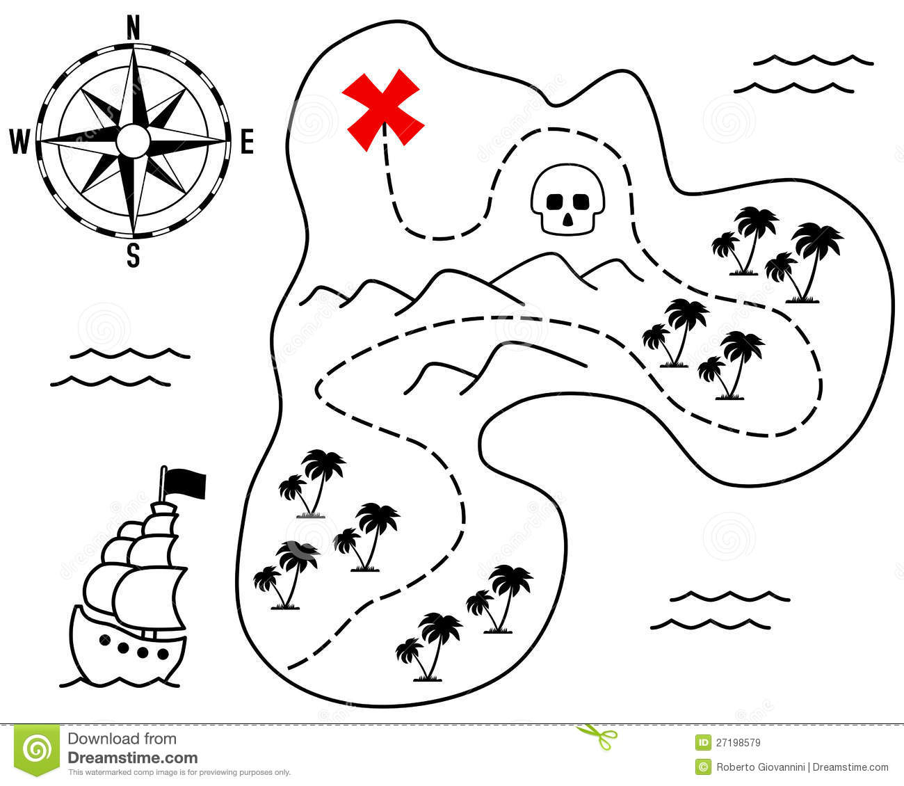 Old Treasure Island Map stock vector. Illustration of