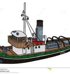 old tugboat hand drawing of an old tugboat not a real type stock illustration [ 1300 x 1065 Pixel ]
