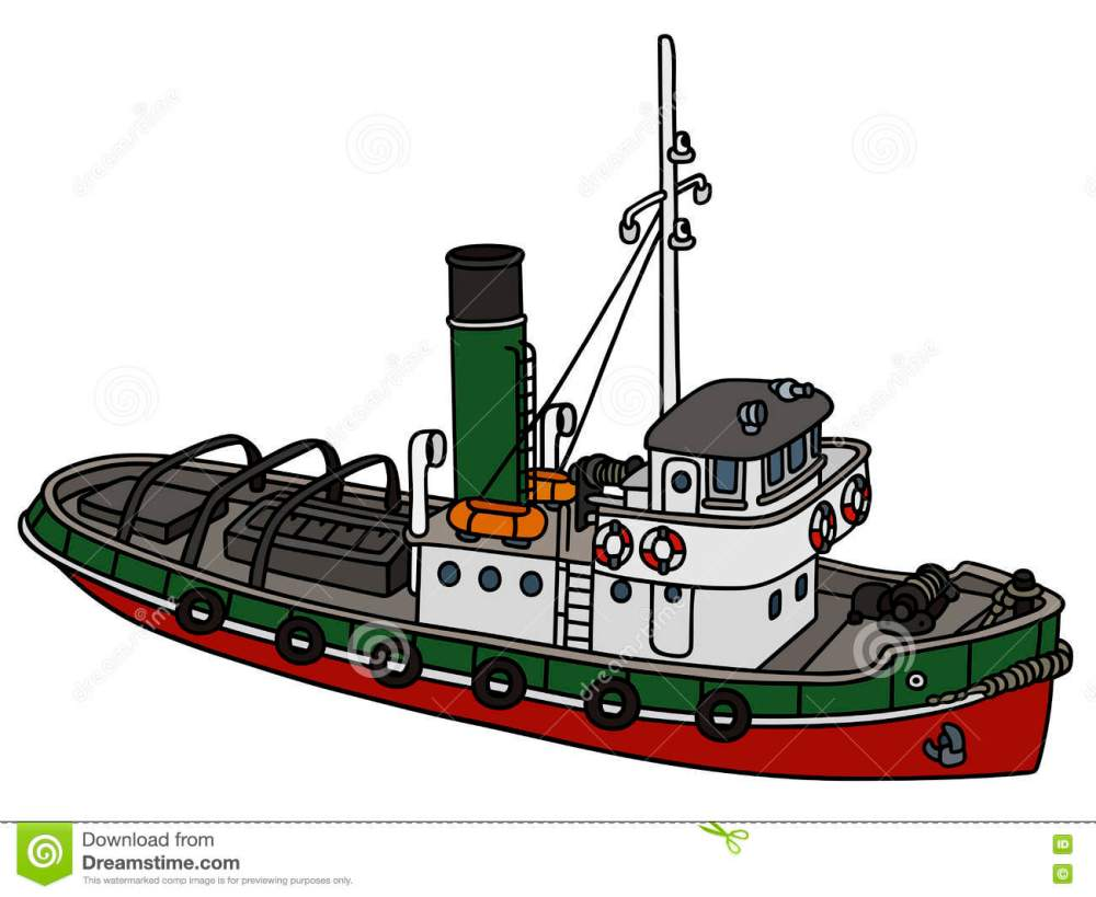 medium resolution of old tugboat hand drawing of an old tugboat not a real type stock illustration