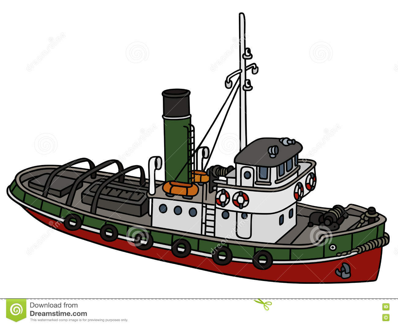 hight resolution of old tugboat hand drawing of an old tugboat not a real type stock illustration