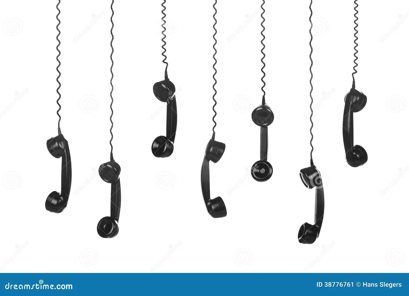 Old Vintage Black Telephone Handsets Stock Image