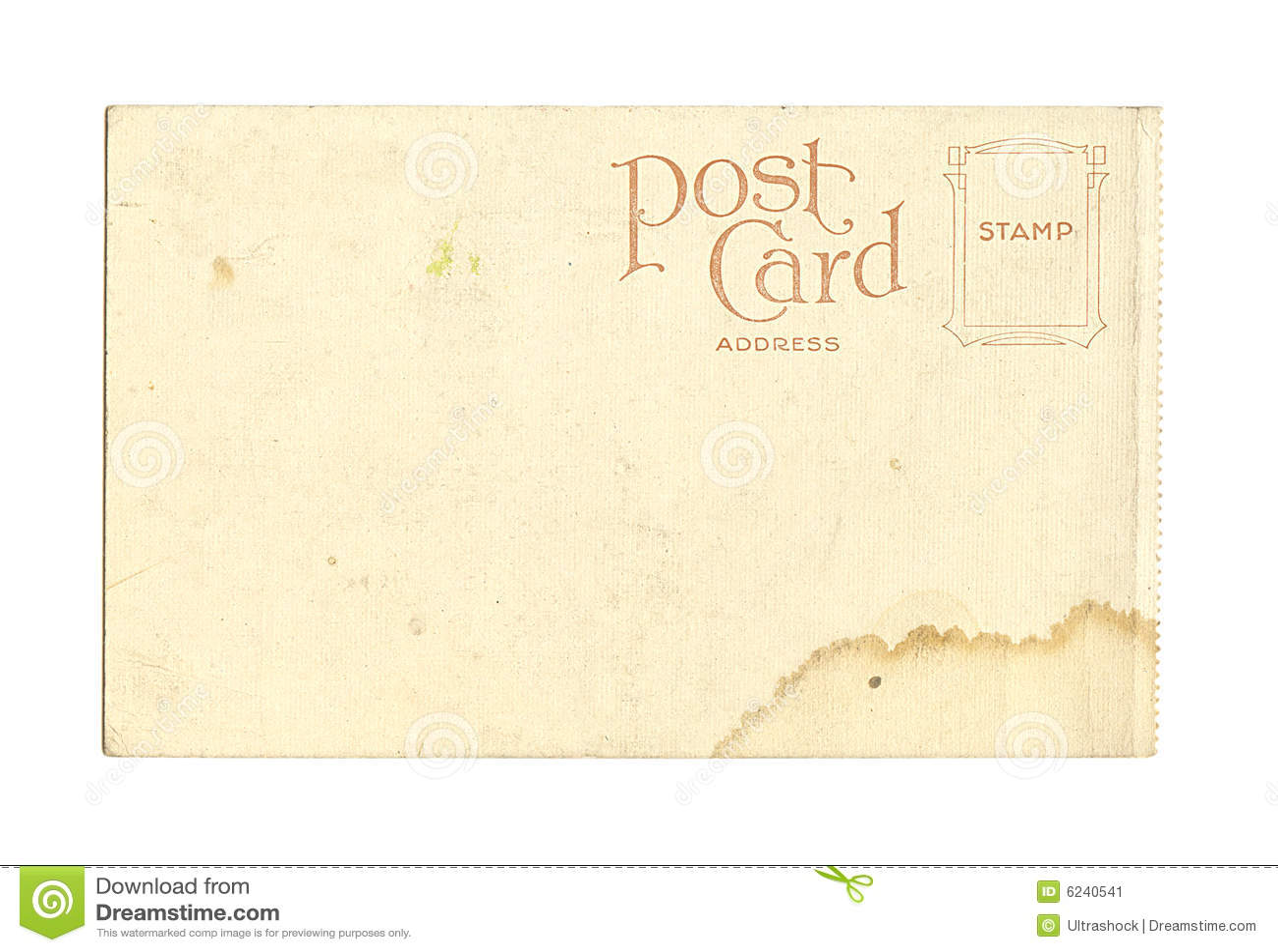 Old Vintage Blank Postcard Stock Image Image Of Space