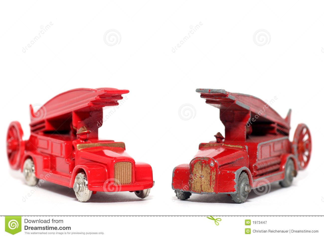 Old Vs New Toy Car Denis Fire Engine Stock Image