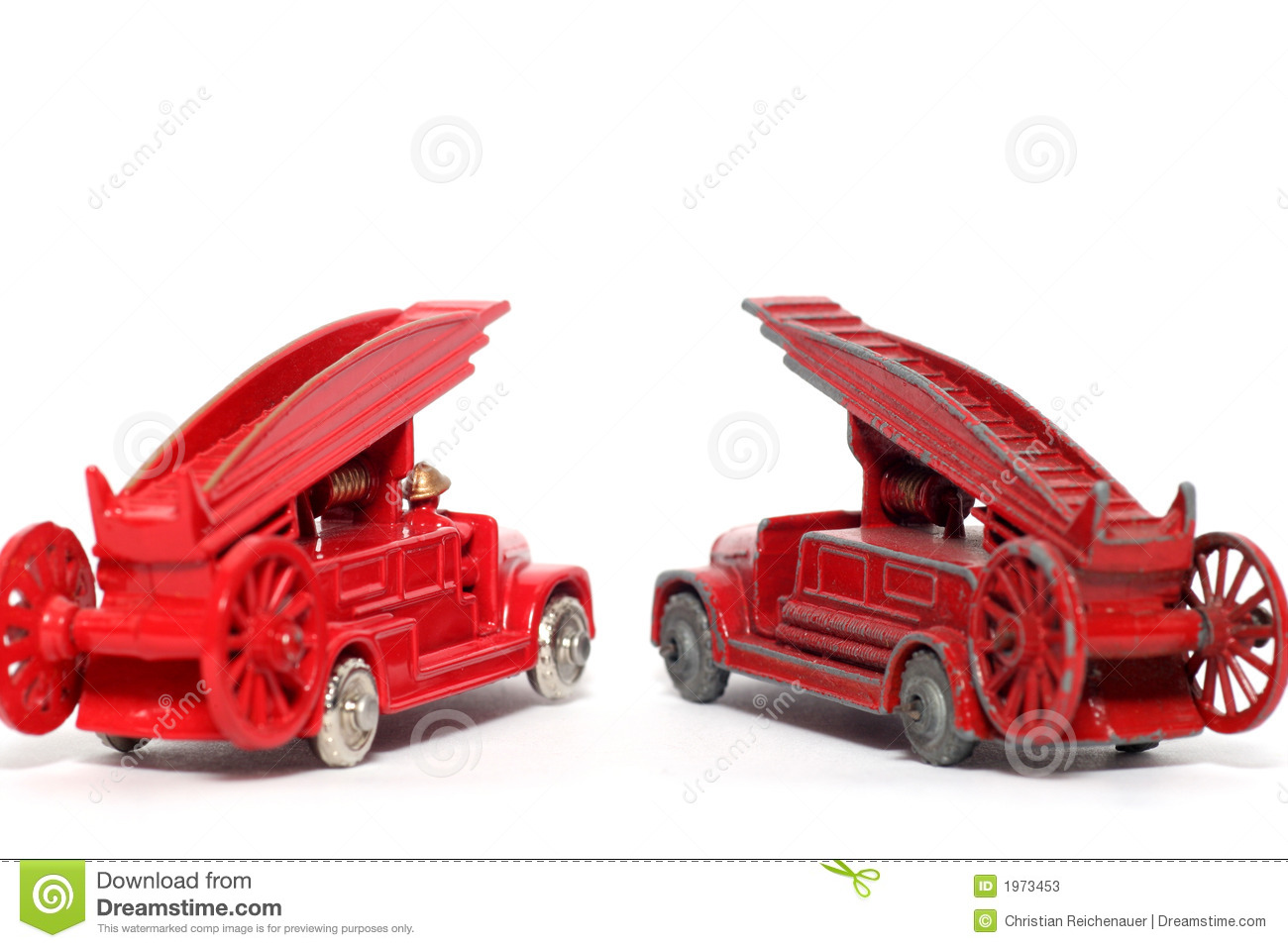 Old Vs New Toy Car Denis Fire Engine 2 Stock Image
