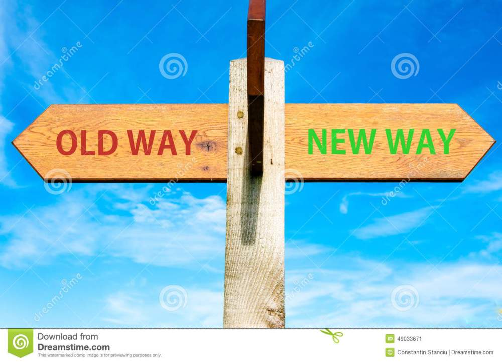 medium resolution of old way and new way signs life change conceptual image