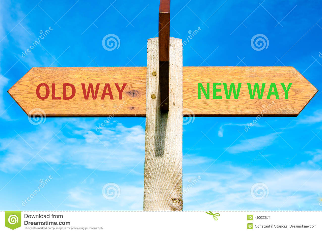hight resolution of old way and new way signs life change conceptual image
