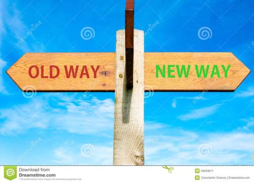 small resolution of old way and new way signs life change conceptual image