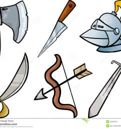 cartoon illustration of blades and weapons historical objects clip art set [ 1300 x 1085 Pixel ]
