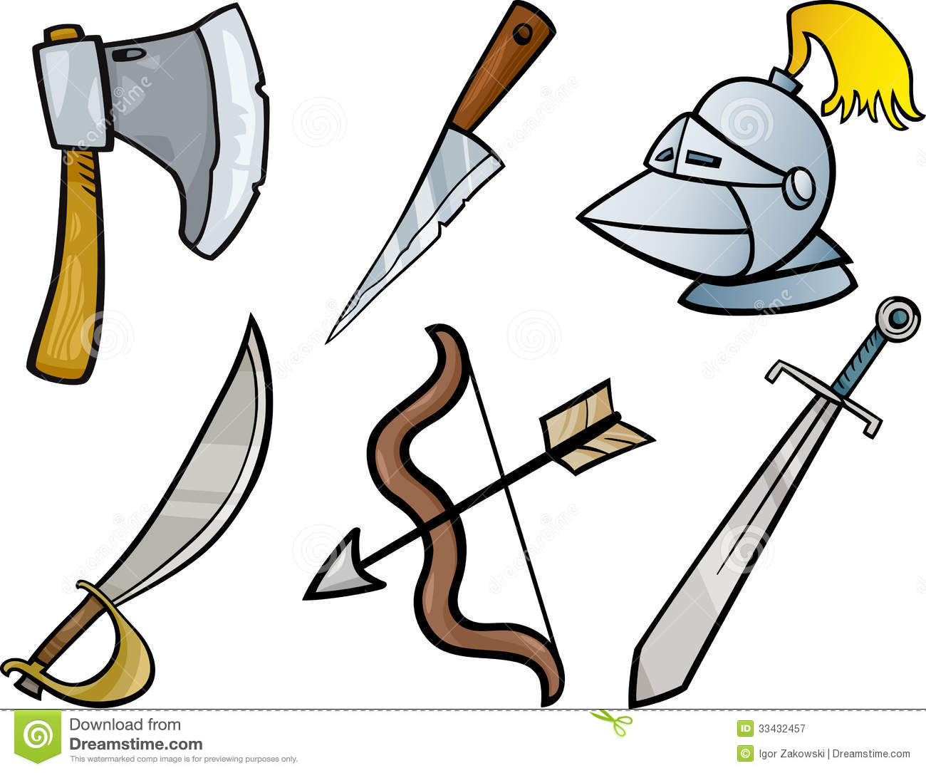 hight resolution of cartoon illustration of blades and weapons historical objects clip art set