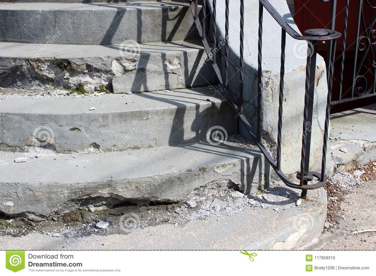Set Of Cement Stairs In Need Of Repair With Black Wrought Iron   Railing For Cement Steps   Precast Concrete   Redwood   Steep Outdoor Step   Commercial Concrete   Elderly