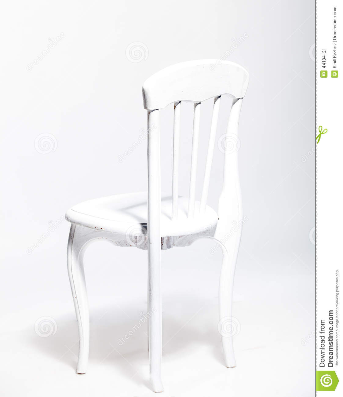 Old White Wooden Chair Against White Background At Studio