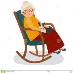 Old Lady Chair Cheap Plastic Outdoor Chairs Woman And Her Cat Royalty Free Stock Image