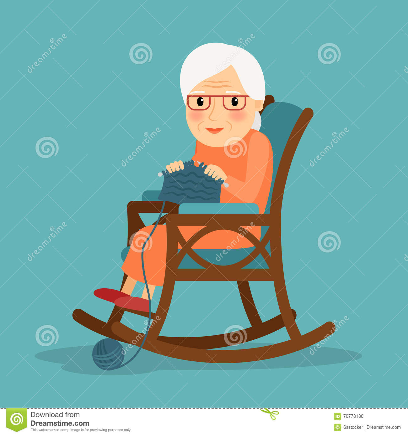 old lady chair flexible love grandmother knits vector flat cartoon illustration