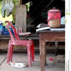 How To Fix Broken Plastic Chair Target Dish Old Wood Dining Table In A Poor Country Royalty Free Stock