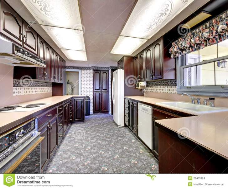 Old Wood Narrow Kitchen Carpet Curtains Stock