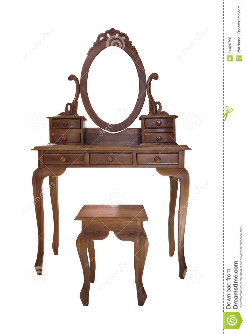 vanity with chair and mirror real leather old wood table stock photo - image: 34426798