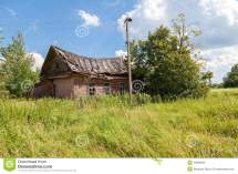 Wooden Abandoned House In Russian Village Stock