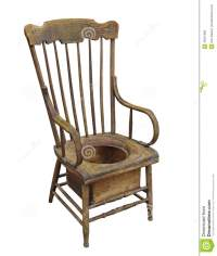 Old Wooden Adult Potty Chair Isolated. Stock Photo