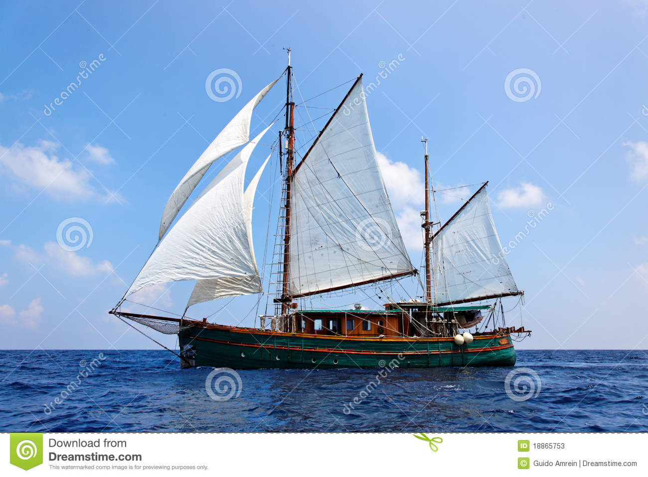 old wooden sailboat stock