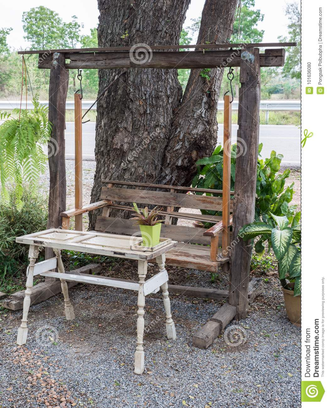 swing chair local seat old wooden with the white tabel stock photo image of bench